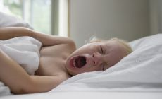 small child lying in bed, yawning